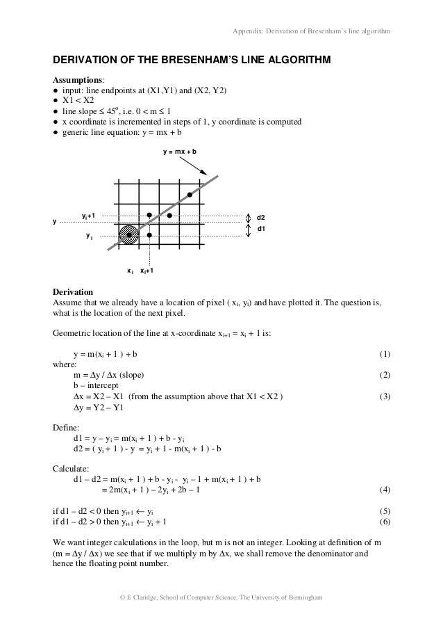Bresenham Line Drawing Algorithm Slideshare : Bresenham derivation
