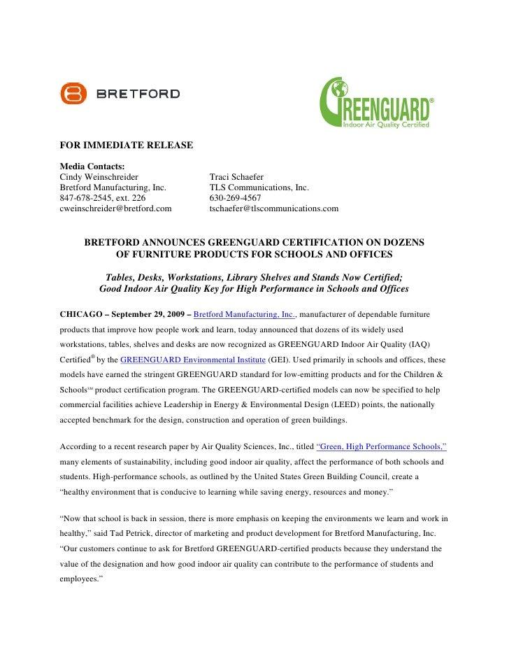 Bretford Announces Greenguard Certification On Dozens Of F