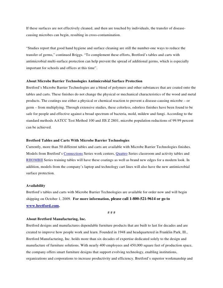Bretford Introduces Microbe Barrier Technologies Slide 2