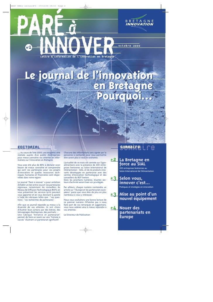 PARÉ à   N°1                      INNOVER                        Lettre d'information de l'innovation en bretagne         ...