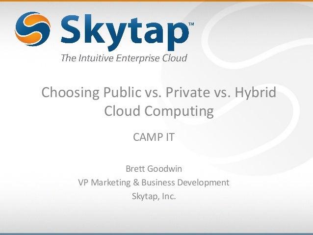 Choosing Public vs. Private vs. HybridCloud ComputingCAMP ITBrett GoodwinVP Marketing & Business DevelopmentSkytap, Inc.