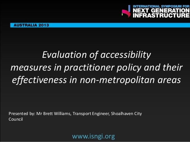 ENDORSING PARTNERS  Evaluation of accessibility measures in practitioner policy and their effectiveness in non-metropolita...