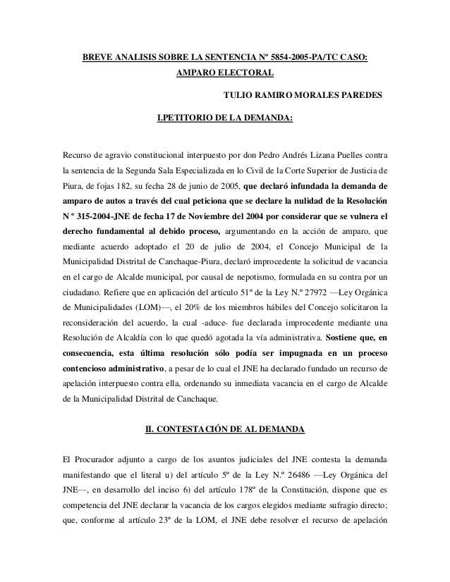 BREVE ANALISIS SOBRE LA SENTENCIA Nº 5854-2005-PA/TC CASO:                                AMPARO ELECTORAL                ...