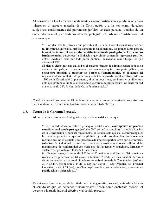 Al considerar a los Derechos Fundamentales como instituciones jurídicas objetivas       inherentes al aspecto material de ...