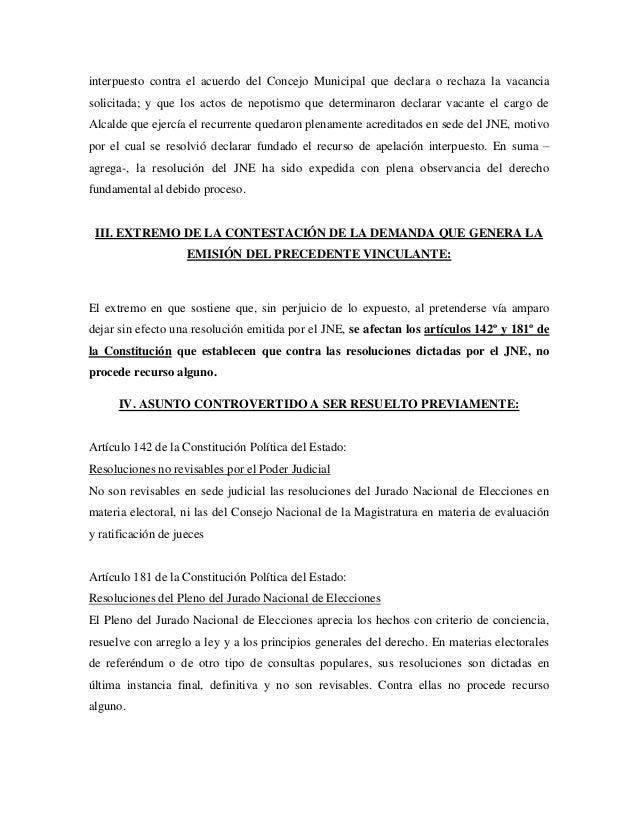 interpuesto contra el acuerdo del Concejo Municipal que declara o rechaza la vacanciasolicitada; y que los actos de nepoti...