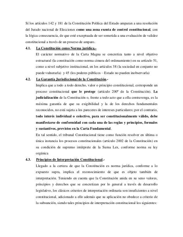 Sí los artículos 142 y 181 de la Constitución Política del Estado amparan a una resolucióndel Jurado nacional de Eleccione...