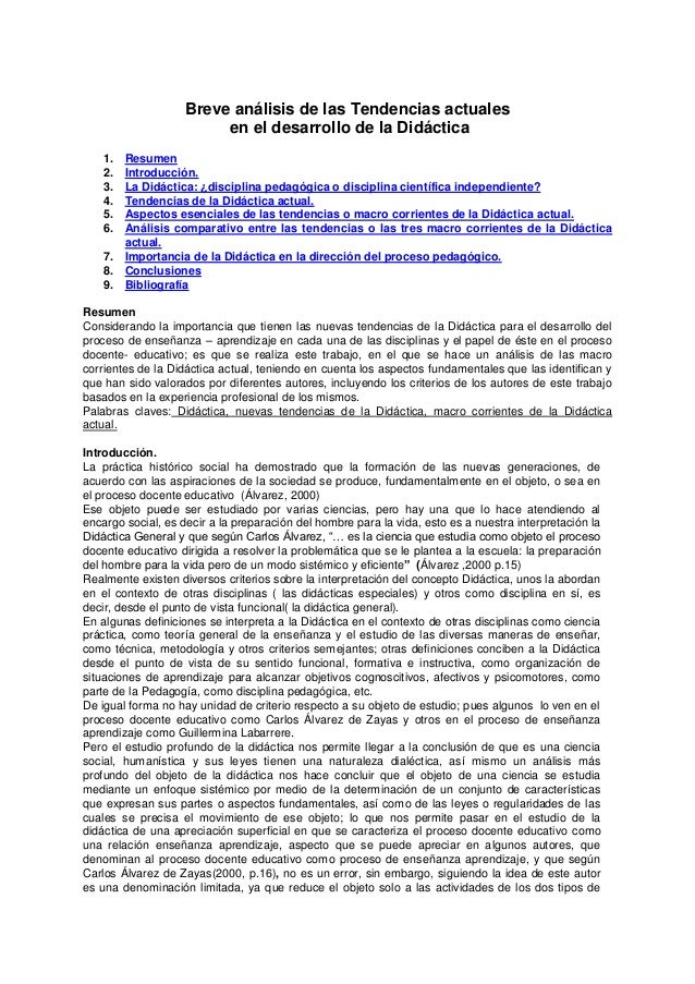 Breve análisis de las Tendencias actuales en el desarrollo de la Didáctica 1. Resumen 2. Introducción. 3. La Didáctica: ¿d...