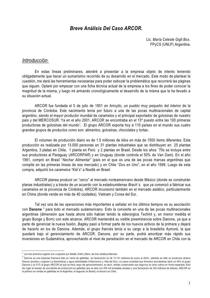 Breve Análisis Del Caso ARCOR.                                                                                            ...