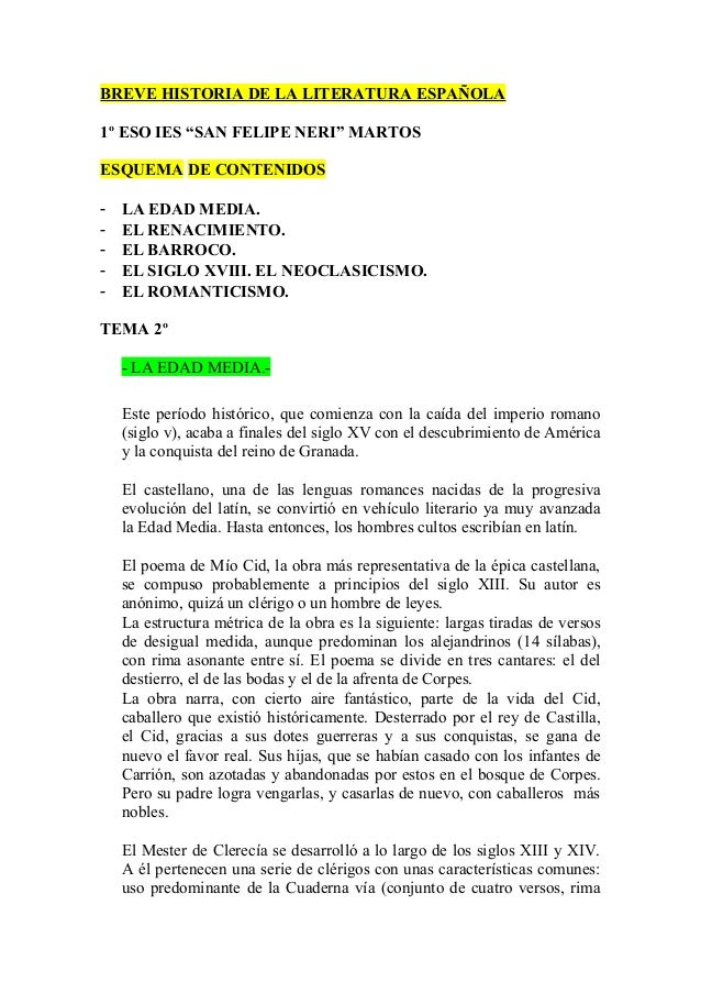 """BREVE HISTORIA DE LA LITERATURA ESPAÑOLA1º ESO IES """"SAN FELIPE NERI"""" MARTOSESQUEMA DE CONTENIDOS-   LA EDAD MEDIA.-   EL R..."""