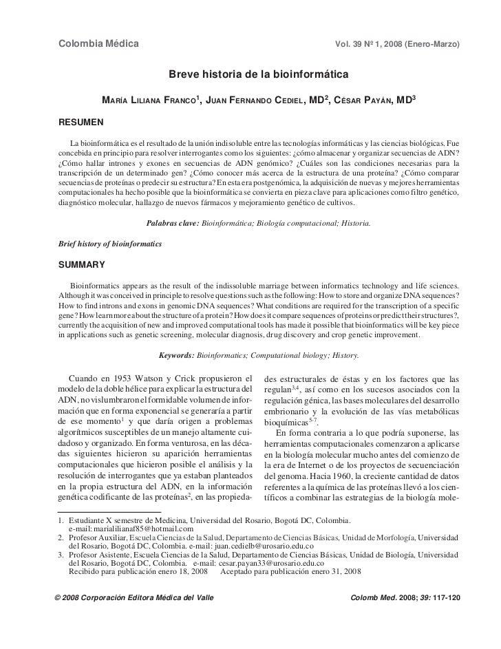 Colombia Médica                                                                        Vol. 39 Nº 1, 2008 (Enero-Marzo)   ...