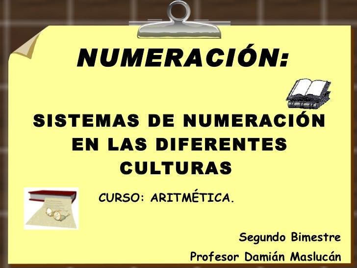 SISTEMAS DE NUMERACIÓN EN LAS DIFERENTES CULTURAS  CURSO: ARITMÉTICA. Segundo Bimestre Profesor Damián Maslucán NUMERACIÓN: