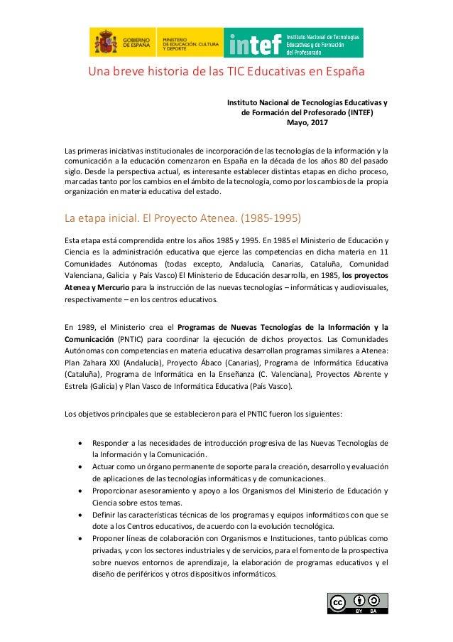Una Breve Historia De Las Tic Educativas En España