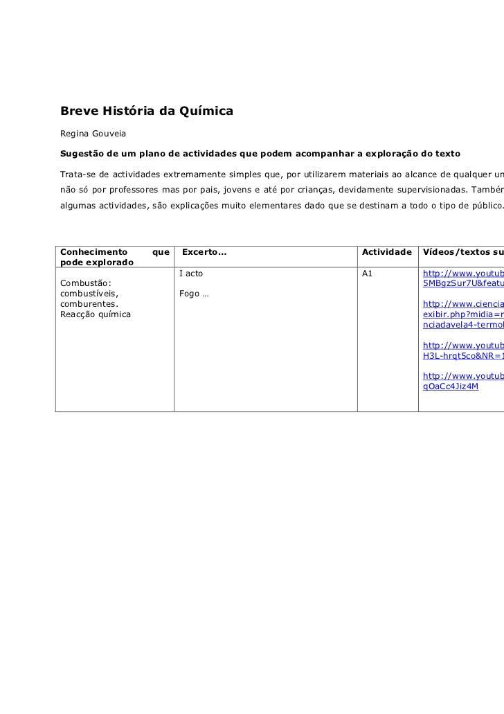 Breve História da QuímicaRegina GouveiaSugestão de um plano de actividades que podem acompanhar a exploração do textoTrata...