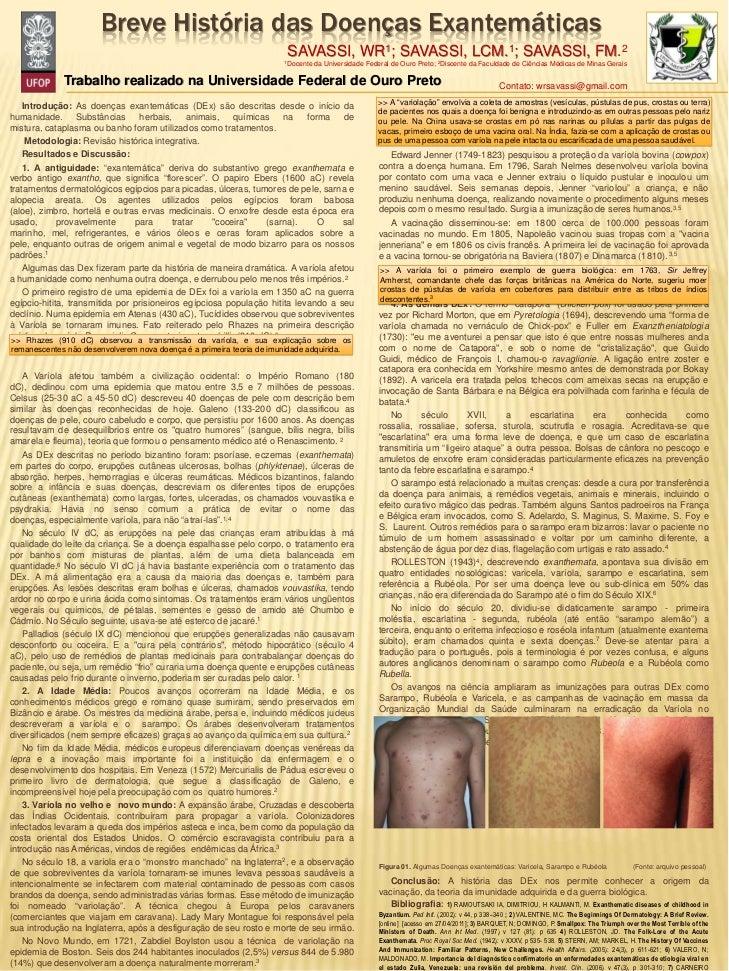 Breve História das Doenças Exantemáticas                                                                        SAVASSI,  ...