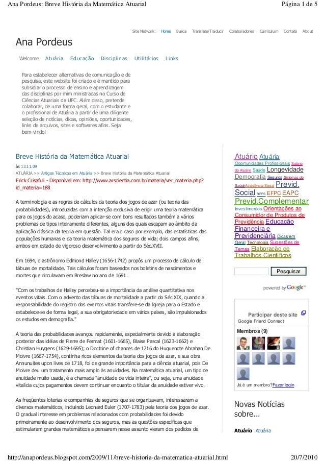 Site Network: Home Busca Translate/Traducir Colaboradores Curriculum Contato About Ana Pordeus Welcome Atuária Educação Di...