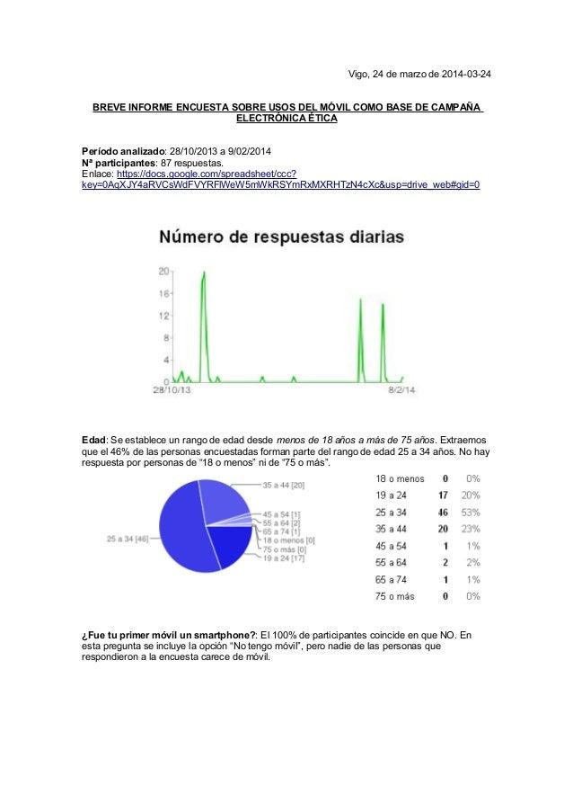 Vigo, 24 de marzo de 2014-03-24 BREVE INFORME ENCUESTA SOBRE USOS DEL MÓVIL COMO BASE DE CAMPAÑA ELECTRÓNICA ÉTICA Período...