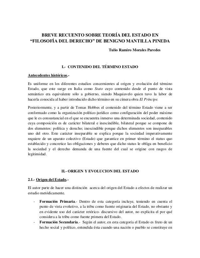 """BREVE RECUENTO SOBRE TEORÍA DEL ESTADO EN""""FILOSOFÍA DEL DERECHO"""" DE BENIGNO MANTILLA PINEDATulio Ramiro Morales ParedesI.-..."""