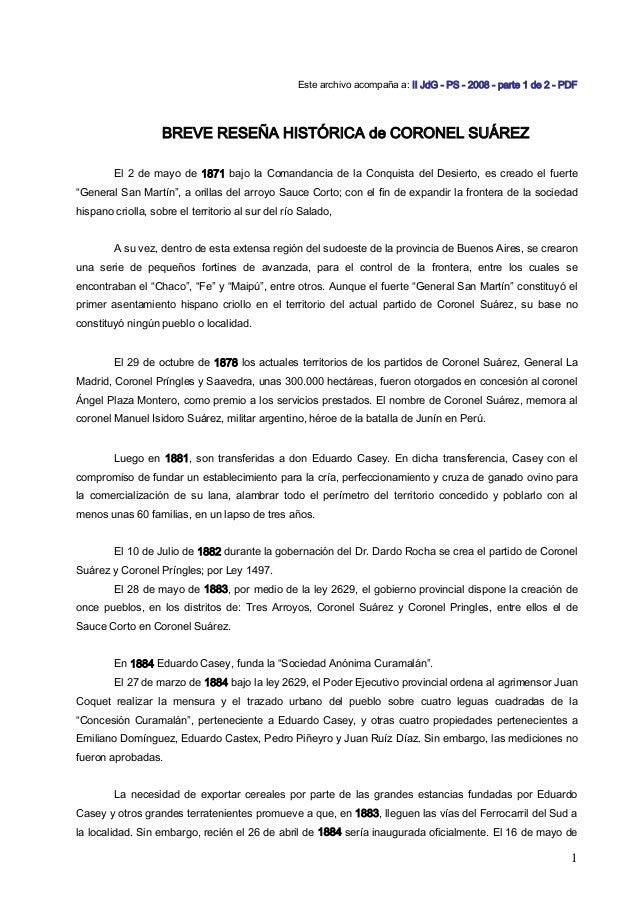 Este archivo acompaña a: II JdG - PS - 2008 - parte 1 de 2 - PDF BREVE RESEÑA HISTÓRICA de CORONEL SUÁREZ El 2 de mayo de ...