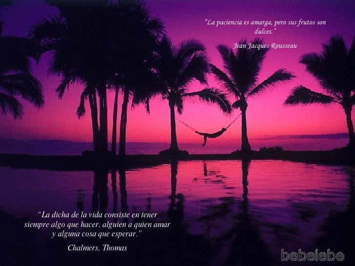 """"""" La dicha de la vida consiste en tener siempre algo que hacer, alguien a quien amar y alguna cosa que esperar."""" Chalmers,..."""