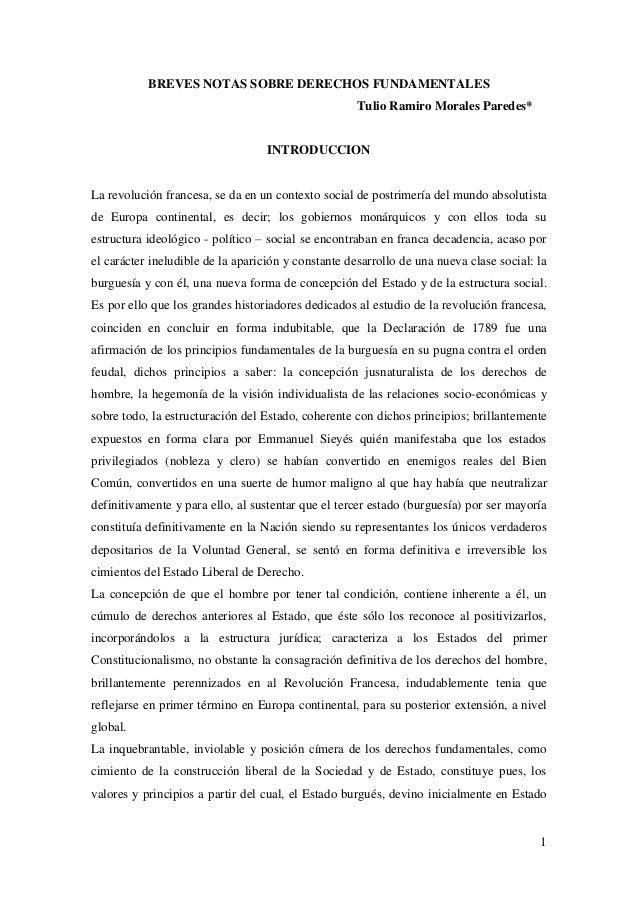 1BREVES NOTAS SOBRE DERECHOS FUNDAMENTALESTulio Ramiro Morales Paredes*INTRODUCCIONLa revolución francesa, se da en un con...