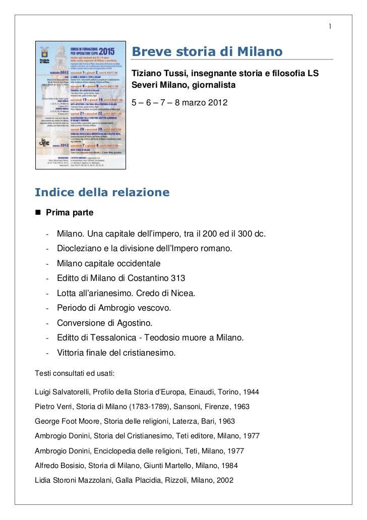 1                               Breve storia di Milano                               Tiziano Tussi, insegnante storia e fi...