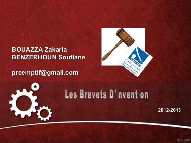 BOUAZZA ZakariaBENZERHOUN Soufianepreemptif@gmail.com                      2012-2013