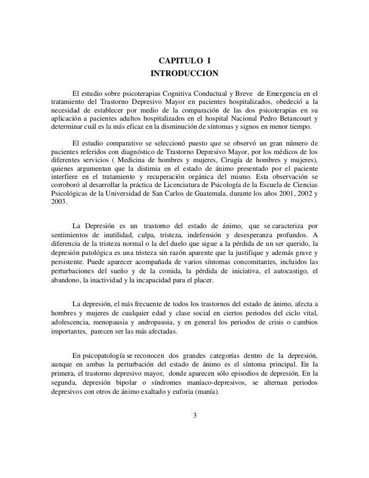 CAPITULO I                                  INTRODUCCION       El estudio sobre psicoterapias Cognitiva Conductual y Breve...