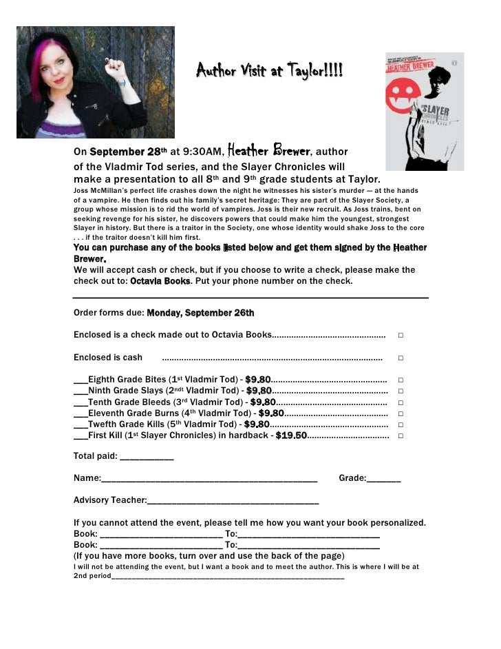 4533900-95250-876300-504825Author Visit at Taylor!!!!<br />On September 28th at 9:30AM, Heather Brewer, author of the Vlad...
