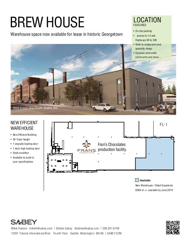 BREW HOUSE  LOCATION FEATURES  Warehouse space now available for lease in historic Georgetown  •	 On site parking •	 acces...