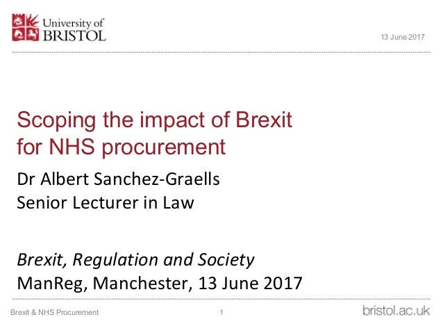 Scoping the impact of Brexit for NHS procurement Dr Albert Sanchez-Graells Senior Lecturer in Law Brexit, Regulation and S...