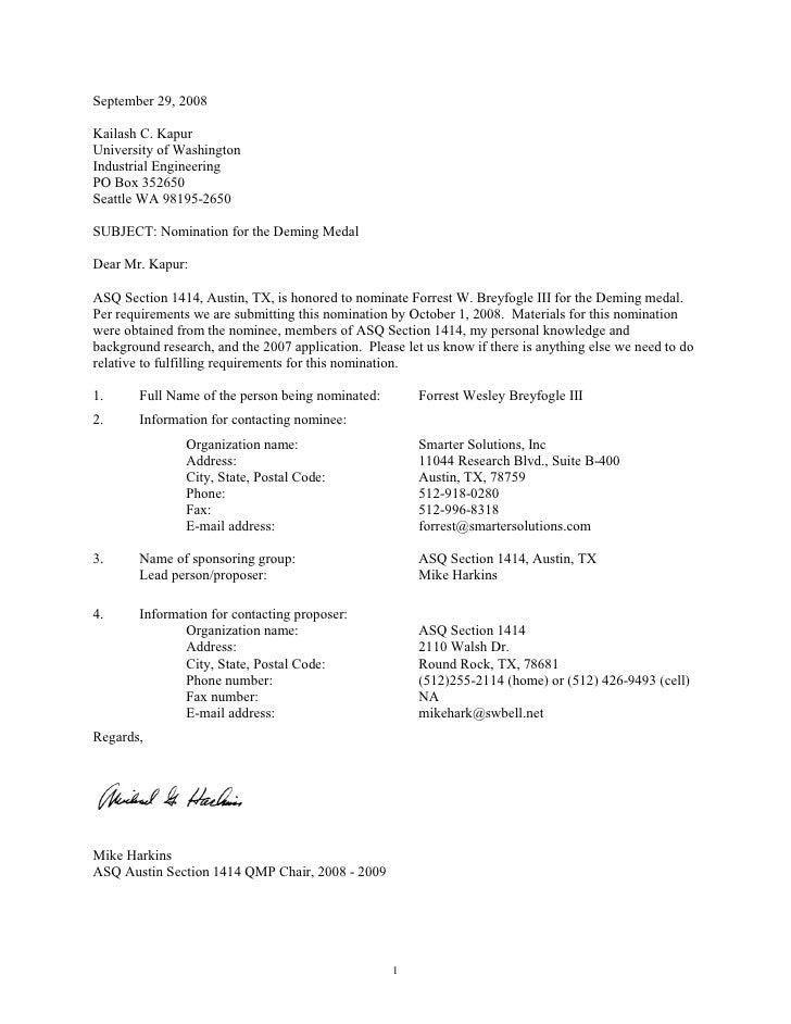 September 29, 2008  Kailash C. Kapur University of Washington Industrial Engineering PO Box 352650 Seattle WA 98195-2650  ...