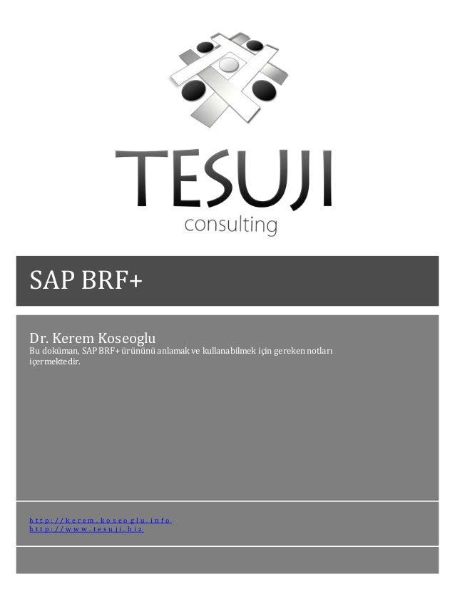 Dr. Kerem Koseoglu Bu doküman, SAP BRF+ ürününü anlamak ve kullanabilmek için gereken notları içermektedir. h t t p : / / ...
