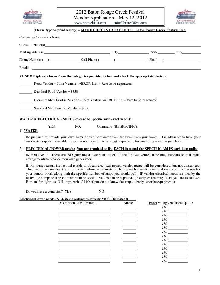 2012 Baton Rouge Greek Festival                                     Vendor Application – May 12, 2012                     ...