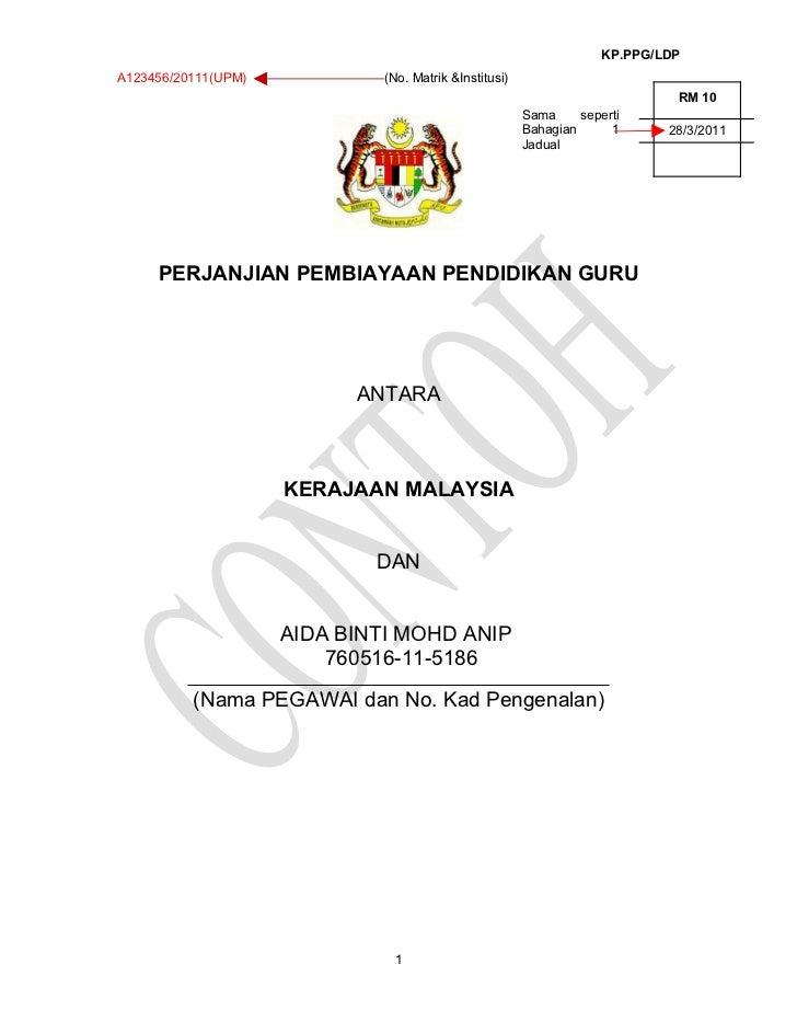 KP.PPG/LDPA123456/20111(UPM)           (No. Matrik &Institusi)                                                            ...