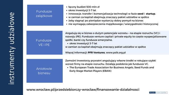 instrumenty udziałowe Fundusze zalążkowe Aniołowie biznesu Fundusze VE i PE łączny budżet 500 mln zł okres inwestycji 3-7 ...