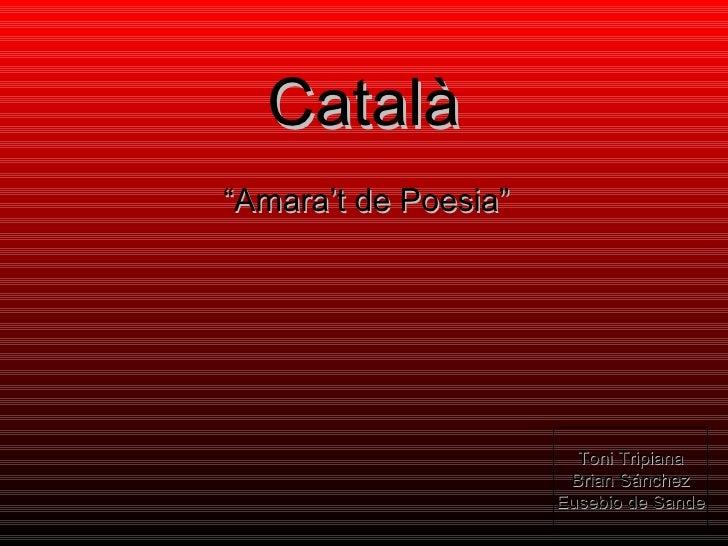 "Català "" Amara't de Poesia"" Toni Tripiana Brian Sánchez Eusebio de Sande"