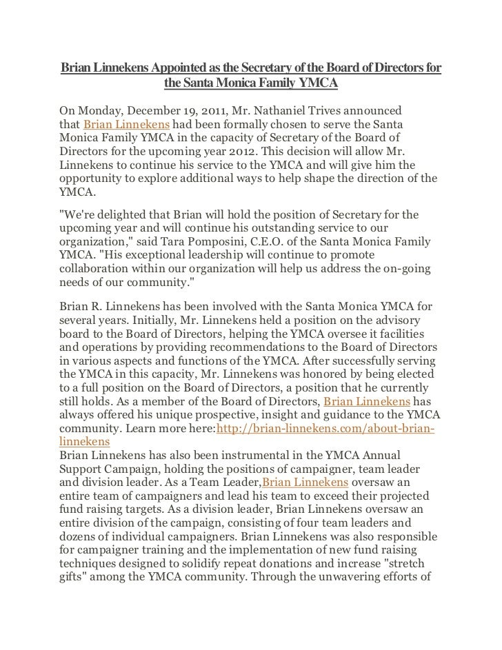 Brian Linnekens Appointed as the Secretary of the Board of Directors for                  the Santa Monica Family YMCAOn M...