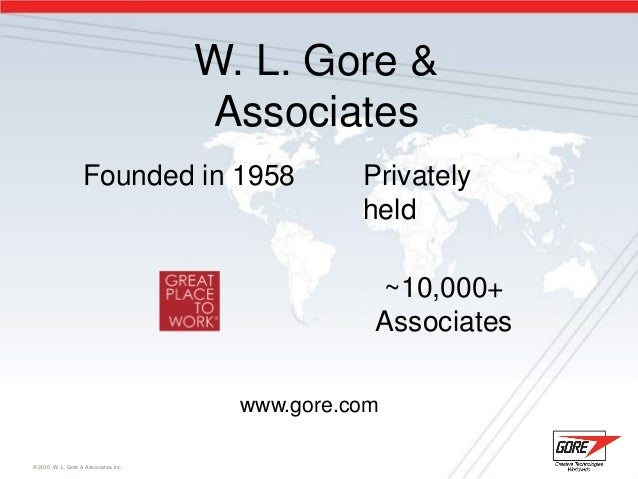 W. L. Gore & Associates W. L. Gore & Associates © 2010 W. L. Gore & Associates, Inc. Founded in 1958 Privately held ~10,00...