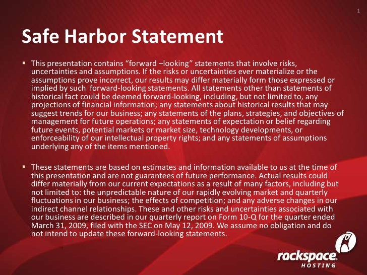 """Safe Harbor Statement<br />1<br /><ul><li>This presentation contains """"forward –looking"""" statements that involve risks, unc..."""