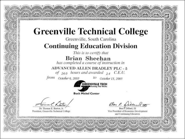 Brian Sheehan Certificates