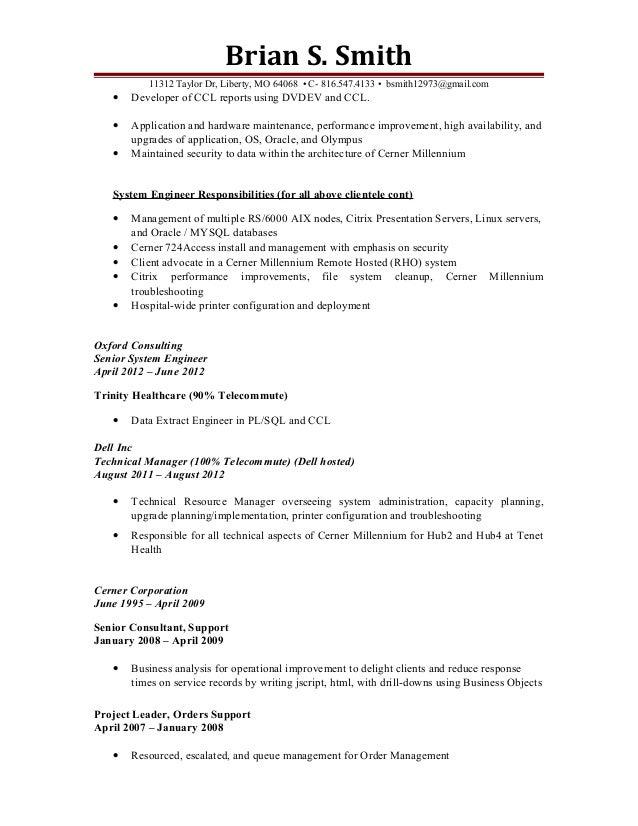 3 - Cerner Systems Engineer Sample Resume