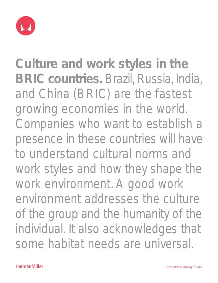 Culture and work styles in theBRIC countries. Brazil, Russia, India,and China (BRIC) are the fastestgrowing economies in t...