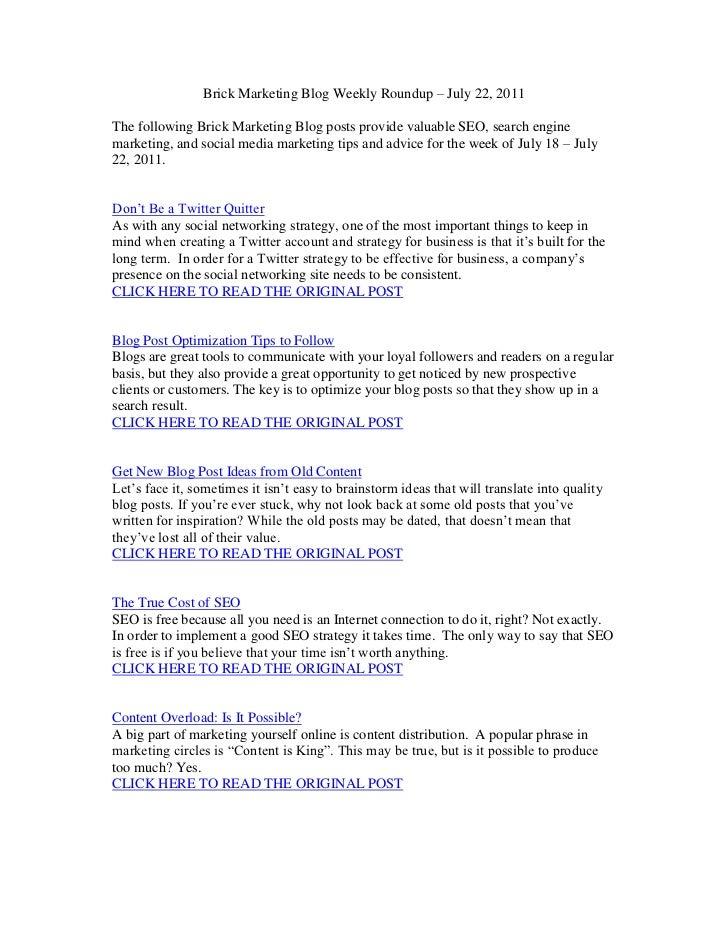 Brick Marketing Blog Weekly Roundup – July 22, 2011<br />The following Brick Marketing Blog posts provide valuable SEO, se...