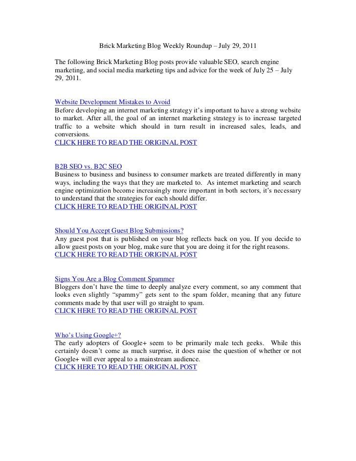 Brick Marketing Blog Weekly Roundup – July 29, 2011<br />The following Brick Marketing Blog posts provide valuable SEO, se...