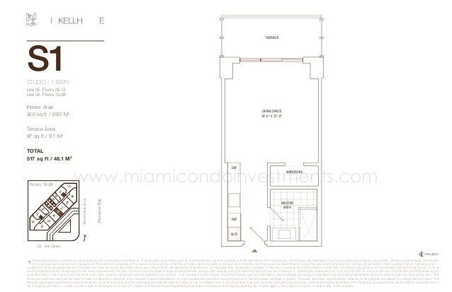 TERRACE  S1 STUDIO / 1 BATH Line 05 Floors 06-12 Line 06 Floors 16-28  Interior Area 420 sq ft / 39.0 M2  Terrace Area 9...