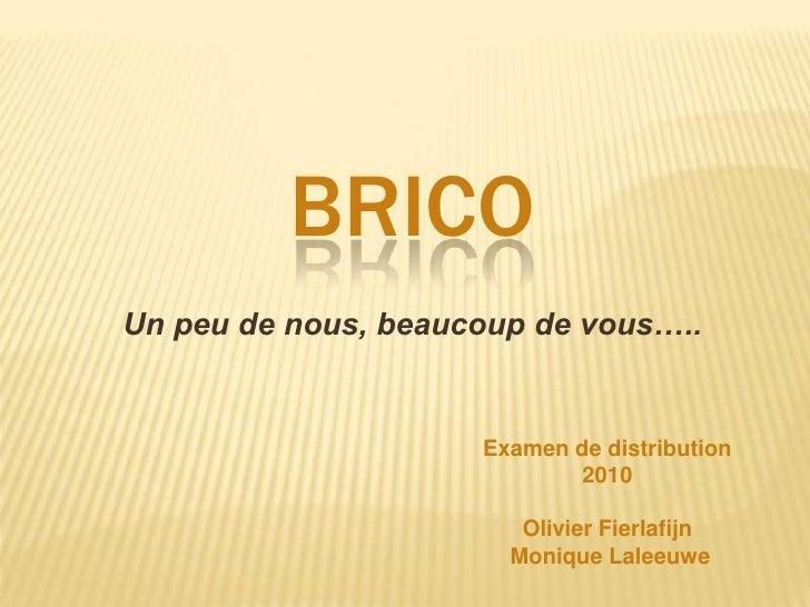 Brico<br />Un peu de nous, beaucoup de vous…..<br />Examen de distribution 2010<br />Olivier Fierlafijn<br /> Monique Lale...