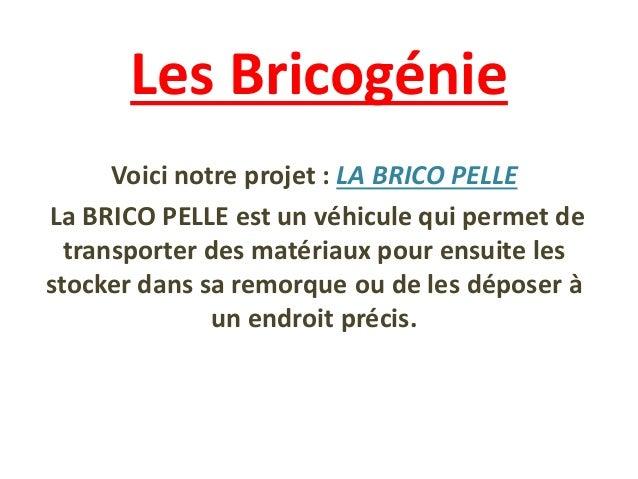 Les Bricogénie Voici notre projet : LA BRICO PELLE La BRICO PELLE est un véhicule qui permet de transporter des matériaux ...