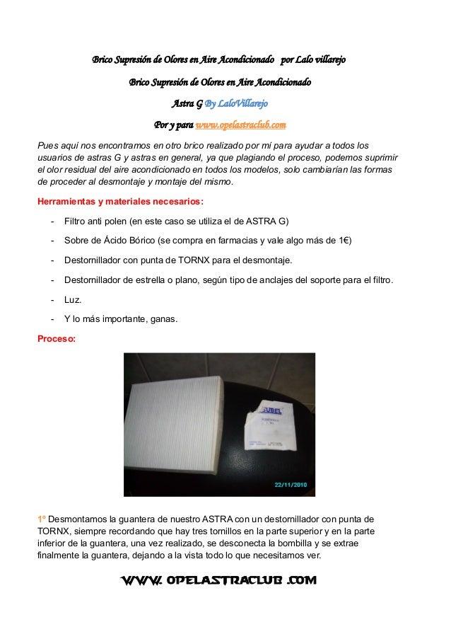 Brico Supresión de Olores en Aire Acondicionado por Lalo villarejo Brico Supresión de Olores en Aire Acondicionado Astra G...