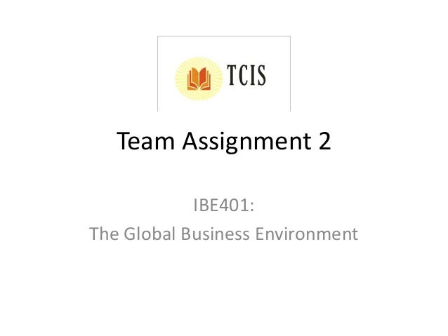 Team Assignment 2 IBE401: The Global Business Environment