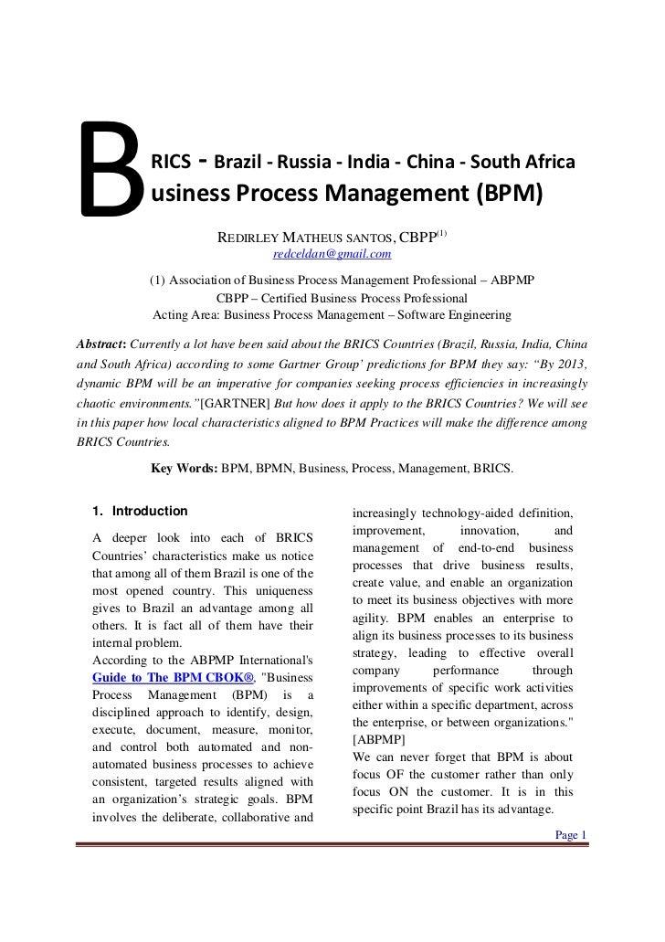 B            RICS     - Brazil - Russia - India - China - South Africa             usiness Process Management (BPM)       ...